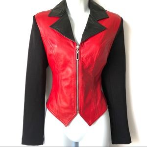 VINTAGE 80's CACHE RED LEATHER MOTO FITTED JACKET